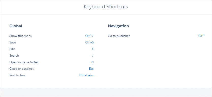 Keyboard Shortcuts in salesforce lightning experience
