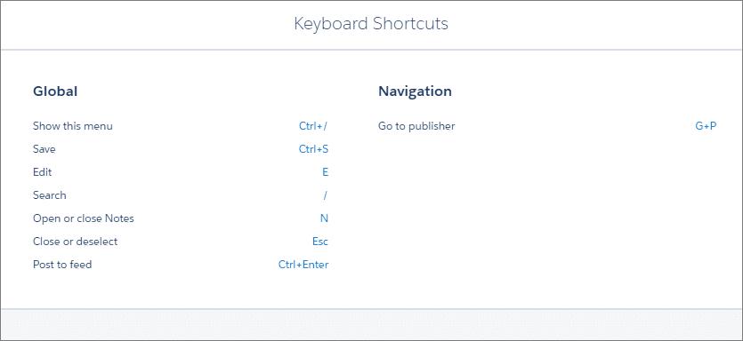 Keyboard Shortcuts in salesforce lightning experience