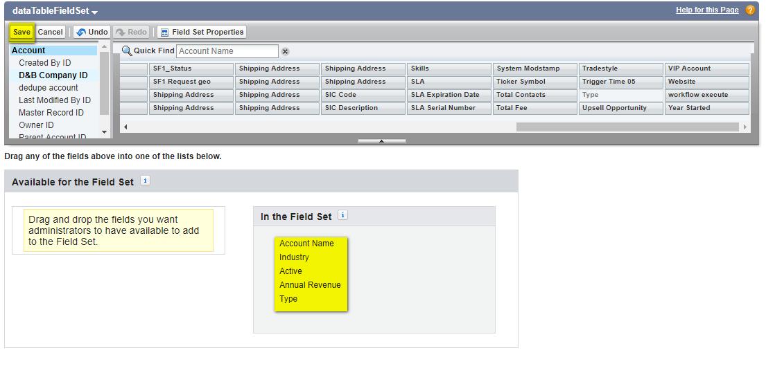 add fieldset datatable