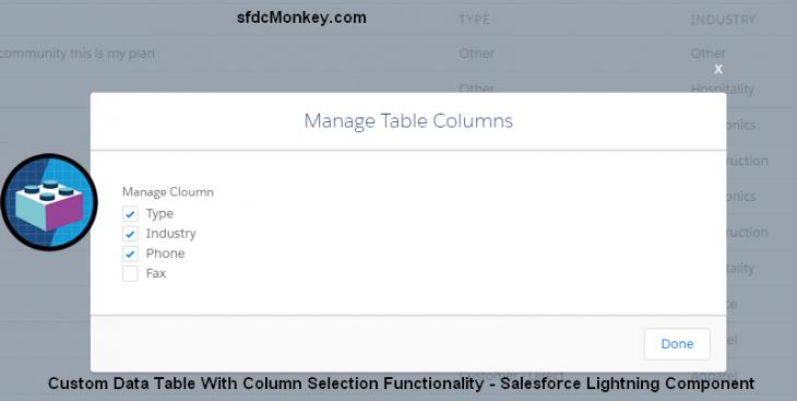 show hide columns fImage data table